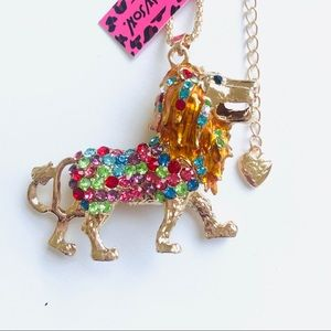 Colorful Crystal Lion Necklace